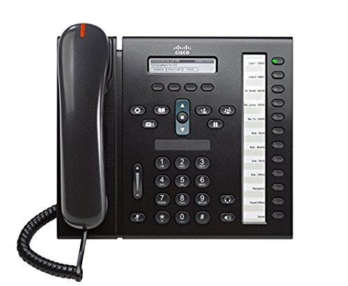 Cisco 6961 CP-6961-C-K9 Unified 12-line IP Phone with Anti-Glare LCD Display, Full-duplex Speakerphone and 802.3af POE, Charcoal (Renewed)