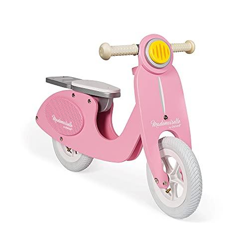 Janod - J03239 - Escúter de madera y estilo retro con sillín ajustable y neumáticos inflables, color rosa, bicicleta para aprendizaje de equilibrio y autonomía, para niños a partir de 3 años