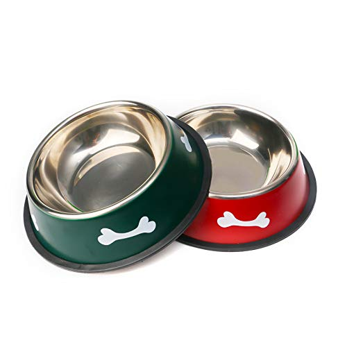 16 oz Stainless Steel Dog/Cat Bowl for Small,Medium Pets , Cat Dish Bowl Dog Food and Water Bowls ,Set of 2 (Basic Bowl)