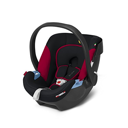 CYBEX Silver Babyschale Aton Scuderia Ferrari, Inkl. Neugeboreneneinlage, Ab Geburt bis ca. 18 Monate, Max. 13 kg, Victory Black