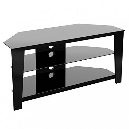 King Universal TV Stand Black Glass Modern & Stylish - 100cm suitable up to 55