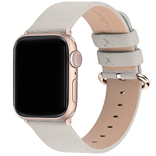 Fullmosa kompatibel mit Apple Watch Armband 44mm 42mm 40mm 38mm Series SE/6/5/4/3/2/1, Leder Ersatzarmband für iwatch original Band, 42mm/44mm Elfenbein weiß + Roségoldene Schnalle
