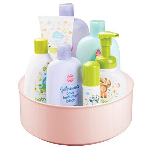 mDesign drehbare Ablage für Zubehör – stilvolle Ablagefläche für Babyausstattung wie Flaschen und Schnuller – runde Aufbewahrung aus BPA-freiem Kunststoff und Edelstahl – rosa