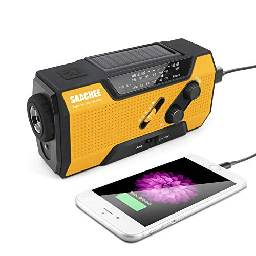 Saachee Solar Radio: Hand Crank Portable Radio, NOAA Weather Radio for Household and Outdoor Emergency with AM/FM, LED Flashlight, Reading Lamp, 2000mAh Power Bank USB Charger and SOS Siren/Flashing!