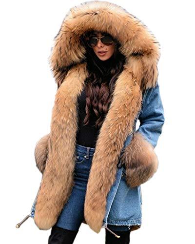 Roiii Damen Verdicken Warme WinterMantel Winterjacke Parka Lange Jacke Outwear Größe 36-50 (M,Denim Brown)