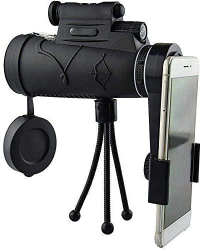 CHSDN Telescopio monocular, 12X50 Telescopio monocular Adultos con trípode Monocular HD Nueva generación con teléfono Inteligente Telescopio portátil para observación de a