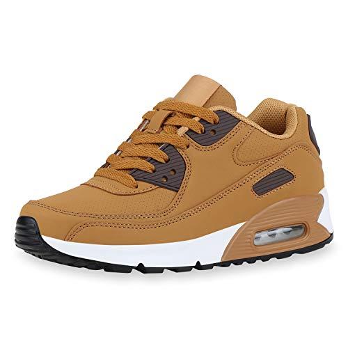 SCARPE VITA Damen Sportschuhe Laufschuhe Profilsohle Freizeit Sneaker Leder-Optik Schuhe Schnürer Fitness 186120 Hellbraun Braun 36