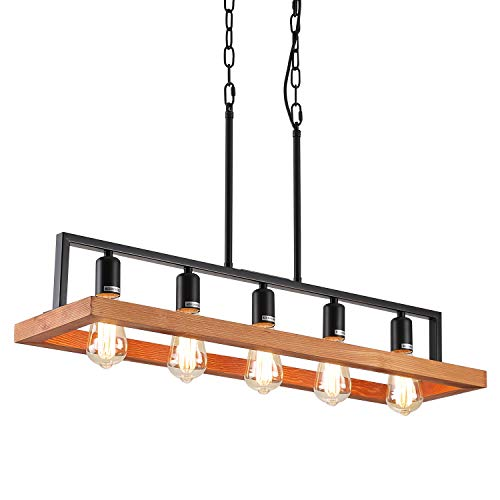 Fivess Lighting Farmhouse Wood Kitchen Island Lighting, Wood and Metal Linear Chandelier, 5 Lights Rustic Industrial Pendant Light Fixture for Kitchen Island Dining Room, Black