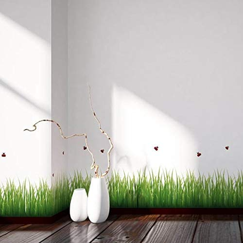Adesivo Murale Erba e Coccinelle, Bordura Adesiva da Pavimento, Sticker per Muri facile da applicare e da rimuovere, materiali certificati, Made in Italy 30 x 200 cm