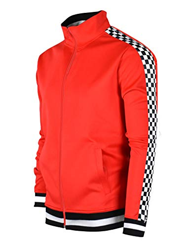 SCREENSHOTBRAND-F11854 Mens Urban Hip Hop Premium Track Jacket - Slim Fit Checker Taped Block Fashion Top-Red-Small