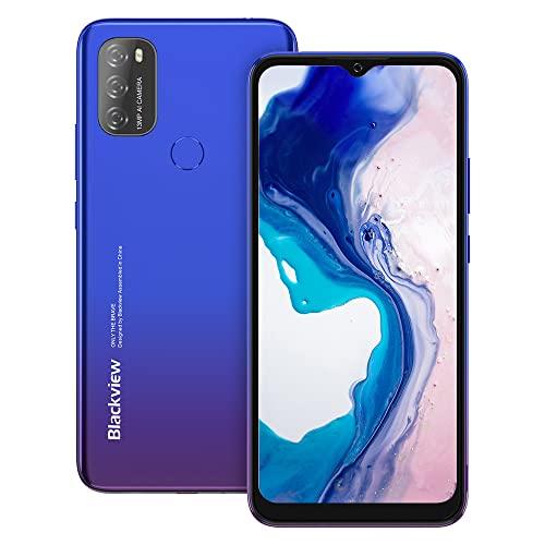 Android 11 Smartphone ohne Vertrag Günstig, Blackview A70 6.517 Zoll HD Octa-core, 3GB RAM+32GB Speicher, 13MP+5MP Kamera, Fingerabdruck & Face ID Dual SIM Einsteiger Handy (blau)