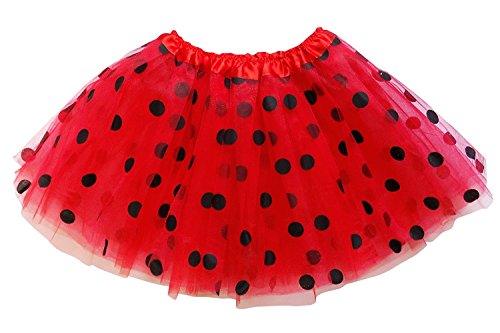 So Sydney Kids, Adult, or Plus Size Polka DOT Tutu Skirt Halloween Costume Dress (M (Kid Size), Red & Black Ladybug)