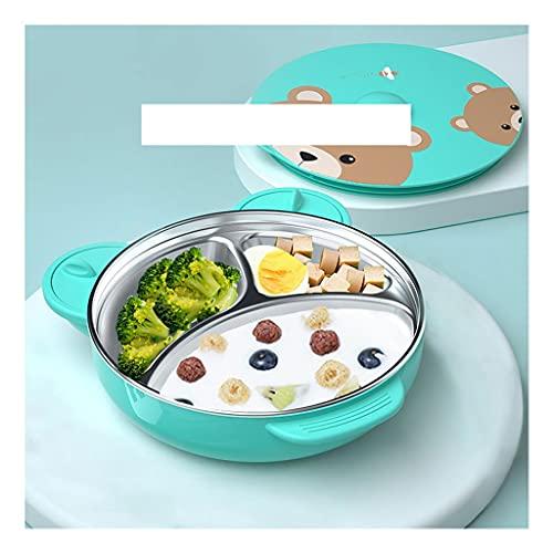 La vajilla de Acero Inoxidable es Muy Adecuada para Acampar el Almuerzo Infantil o el Uso Diario de los Platos Infantiles (Color : Pink)
