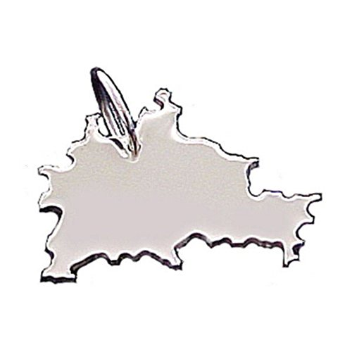 City Souvenir Shop Anhänger Landkarte Berlin, 925er Sterling Silber