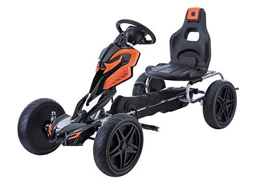 Indalchess Pedal Kart für Kinder bis 12 Jahre, Orange und Schwarz