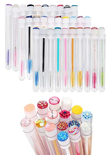 20 Pcs Disposable Mascara Brushes Diamond Eyelash Spoolies Makeup Brush Mascara Wand in Sanitary Tube Lash Supplies.