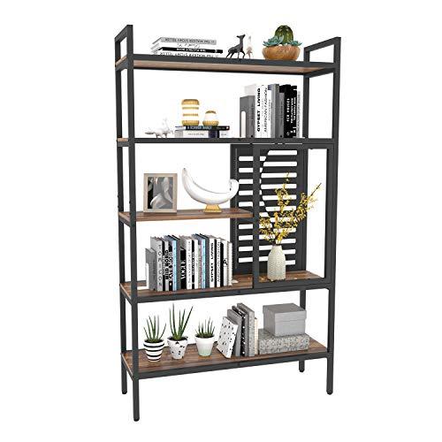 Weehom 5-Tier Adjustable Industrial Bookshelf, Wood Bookcase with Metal Frame, Tall Display Rack Storage Shelf Organizer, Open Standing Shelving Unit for Living Room Bedroom Kitchen