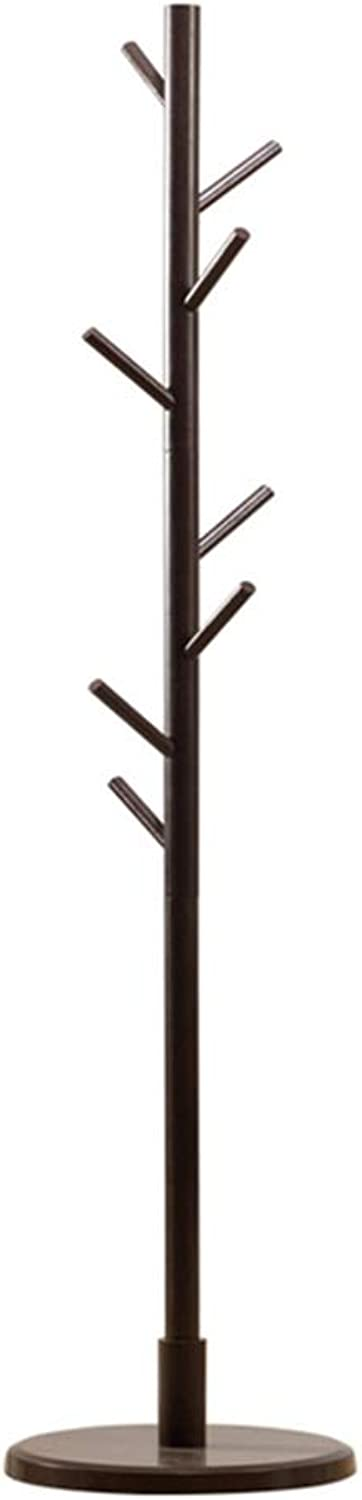 TH 165CM Wooden Coat Stand 8 Hooks Clothes Rack, Organize Hats Scarves, Clothes, Handbags for Living Room - Brown