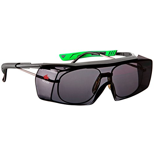 NoCry Over-Spec Safety Glasses, Tinted, Gun Metal & Green Frames
