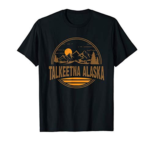 Vintage Talkeetna, Alaska Mountain Hiking Souvenir Print T-Shirt