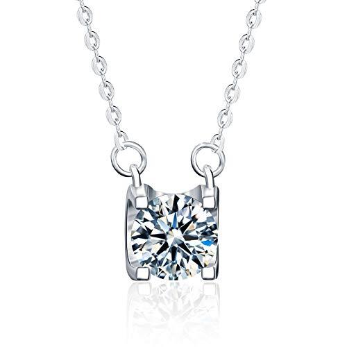 NHGF Collar de Diamantes Moissan de Plata esterlina s925, Colgante de Cita para Damas, Adecuado para Enviar a mamá, Esposa y Novia