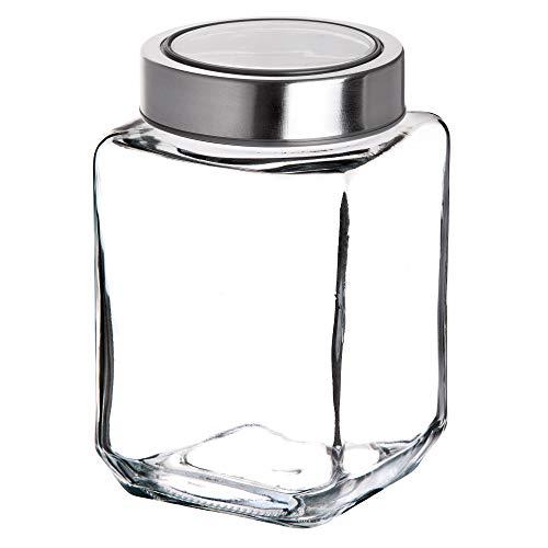 KADAX Vorratsglas, Glasbehälter mit Deckel aus Kunststoff, Lebensmittelbehälter aus Glas, Vorratsdose für Nudeln, Spaghetti, Gewürze, Einweckglas, transparent, luftdicht (500ML, grau)