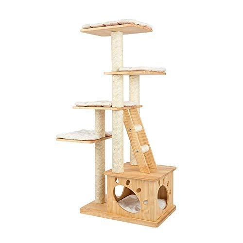 Kratzbaum Massivholz Katze Springen Plattform Lagre Katze Ständer Hauskatze Klettergerüst for Katze Amusement 146cm for Cat Play (Farbe: Holz, Größe: Eine Größe) xiao1230