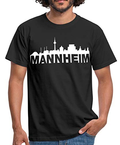 Mannheim Skyline Weiss Männer T-Shirt, 3XL, Schwarz