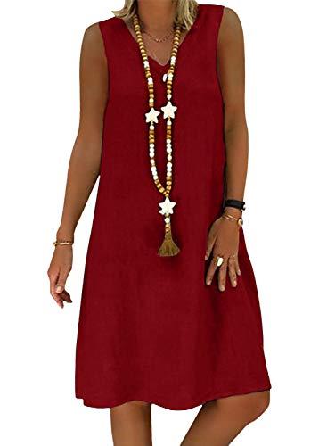 Yidarton Sommerkleid Leinen Kleider Damen V-Ausschnitt Strandkleider Einfarbig A-Linie Kleid Boho Knielang Kleid Ohne Zubehör (ZY/Weinrot, L)