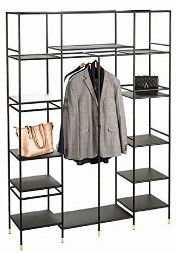 Casa Padrino Armario de estantería de Metal de Lujo Negro/latón 150 x 40 x A. 200 cm - Armario de Salón - Armario de Oficina - Muebles de Metal