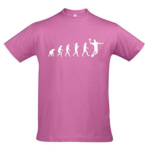 T-Shirt - EVOLUTION - Handball Sport FUN KULT SHIRT S-XXL , Orchid pink - weiß , S