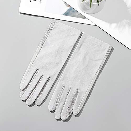 Guantes de algodón de Verano para Mujer a la Moda, Guantes de conducción con Pantalla táctil UV de Punto de impresión de Color sólido, Transpirable, Antideslizante, para Mujer-Gray