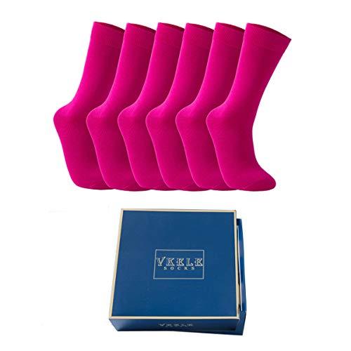 Vkele 6 Paar Pink Socken mit Geschenkpackung, Bunte Socken, Perfekt als Geschenk, Baumwolle, Gr. 39-42 39 40 41 42