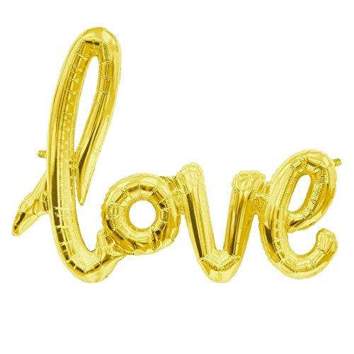 ballonfritz® Love-Schriftzug Luftballon in Gold - XXL Folienballon als Hochzeit Deko, Geschenk oder Liebes-Überraschung zum Valentinstag