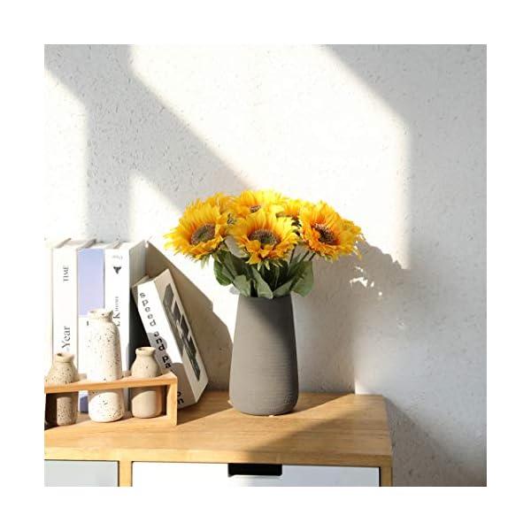 Tifuly de Girasoles Artificiales, Girasol Falso de Seda de vástago Realista de 16.9 Pulgadas para la decoración del…