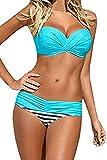 Aleumdr Maillot de Bain 2 Pièces Femme Sexy Push Up Bandeau Bikini Torsadé Amincissant Triangle avec Rembourrés Armature(S-XXL)