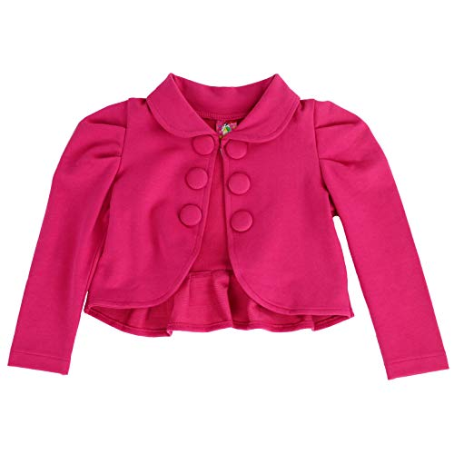 Toddlers and Girls French Terry Knit Ladonna Classic Bolero Crop-Jacket in Hot Pink 7/8