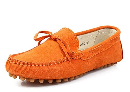 MINITOO Mokassins für Damen, Wildleder, mit Knoten, Orange - Orange - Größe: 36 EU