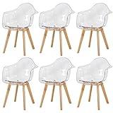 DORAFAIR Set di 6 Sedie da Pranzo,Scandinavo Poltrona Moderno Sedie con Gambe in Faggio Massiccio, per Sale Conferenze Cucina Ufficio, Trasparente