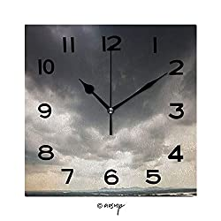 YOLIYANA 8 Inch Square Face Silent Wall Clock Sky with Black Clouds Before A Summer Rainstorm Unique Contemporary Home and Office Decor