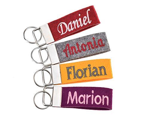 Schlüsselanhänger mit Text bestickt in 34 Filz-Farben - mit Text, personalisiert, Bestickung Name Wunschtext Schlüsselband
