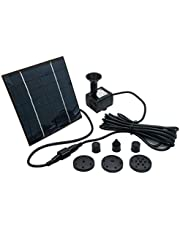 OCGIG Solar Powered Fountain Water Pump 8 Piece Nozzle for Bird Bath Solar Panel Kit Garden Outdoor 1.2W 190L/H