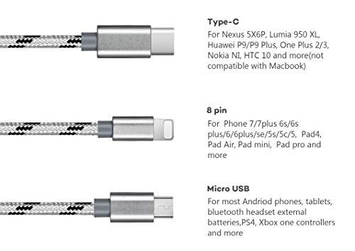 Bolatus 35cm Multi USB Kabel, 3 in 1 Universal Handy Ladekabel Nylon Mehrfach Adapter mit Micro USB Typ C Ladegerät Kabel Kurz Kompatibel für Smartphone Tablets und mehr - Silber