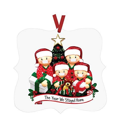 Blingko Weihnachtsverzierungen Aus Holz DIY Weihnachtsbaum AnhäNger Ornamente 2020 Personalisierte ÜBerlebte Familie Weihnachten Deko Baum Weihnachtsschmuck (C)
