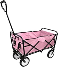 Collapsible Outdoor Utility Wagon, Heavy Duty Folding Garden Portable Hand Cart, with Drink Holder, Suit for Shopping and Park Picnic, Beach Trip and Camping (Pink)