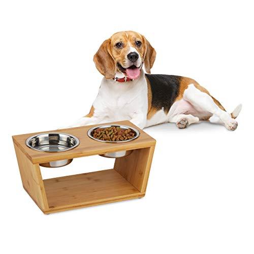 Relaxdays Doppelnapf mit 2 Edelstahl-Schalen, mittelgroße Hunde, für Wasser & Futter, erhöht, HxBxT 18,5x40x21 cm, natur, 1 Stück