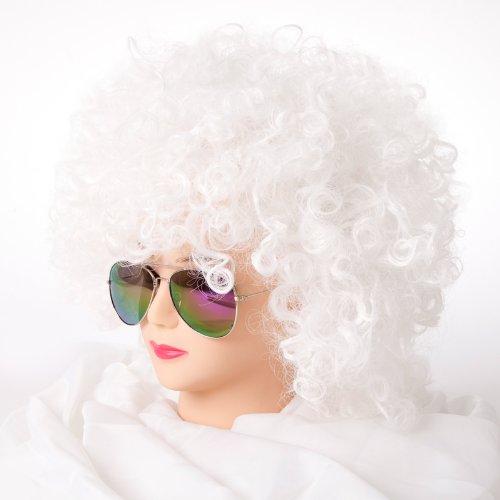 Cabaret Perücken Bob Afro Perücke Karneval Fasching Kostüm Chique Babe Locken (Afro Weiss)