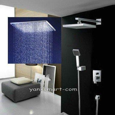 Luxe carrée 3 couleurs LED tête de douche Support mural pluie double robinet de douche salle de bain, chrome ys-7572