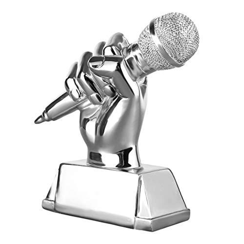 Sculptuur Trofeeën Goud microfoon trofee zingen competitie trofee kampioen host trofee woonkamer wijnkast decoratie handgemaakte, hars materiaal