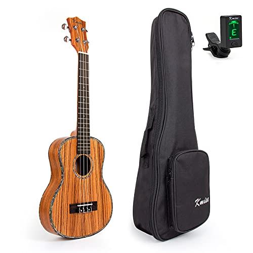 Kmis, ukulele tenore, 66 cm, in abete massiccio, palissandro delle Hawaii, ponte nero, con custodia e sintonizzatore. tenore 26 inch H